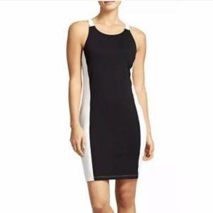 Athleta Colorblock Swim Dress Racerback Black Whit